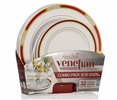 White Plates With Burgundy & Gold Combo Set 16 10'' Dinner Plates & 16'' Salad Plates