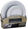 Dinner Plates COMBO PACK White And Silver Rim 40 Plates 20-7'' Salad Plates & 20-10''