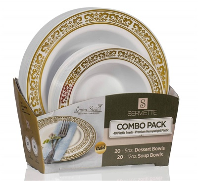 Serviette Ser Gold Combo 5 oz & 12 oz Bowls 20+20 4/CS (SRT-BC512G)