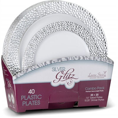 "Glitz Metalized Combo 10"" & 7"" White Plates W/ Silver Border 16+16 4/CS (GLZ-PC710S)"