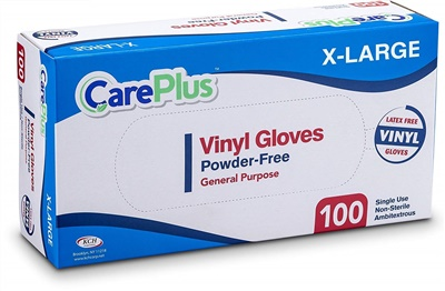 Care Plus Disposable Vinyl Gloves Extra Large Powder Free Latex Free 10/100 CT (GPVPF-XL)