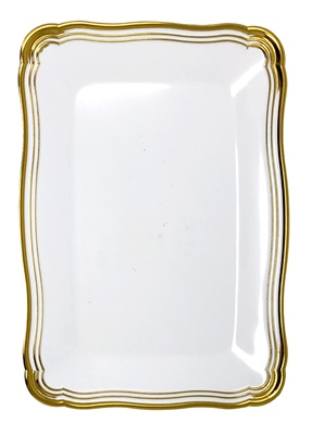 "(3954) Aristocrat White / Gold Oblong Plastic Serving Trays 13"" X 9"" Tray 24/2 CT"