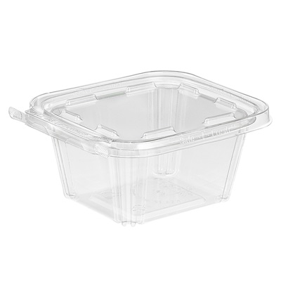 "16 Oz Hinged Deli Container Clear PET 3.75 x 4.37"" x 2.25"" TS16"