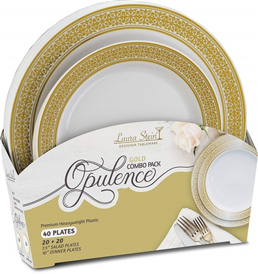 "Opulence Gold Combo 7"" & 10"" Plates 20+20 4/CS (OPC-PC710G)"