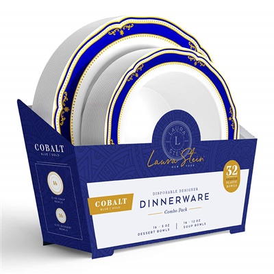Cobalt Blue Combo 5 oz & 12 oz Bowl W/ Blue/ Gold Border 16+16 4/CS (CB-BC512-BG)