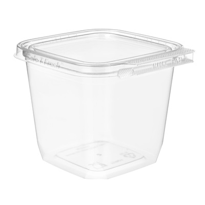 Square Clear Tamper Evident Hinged Container 24 oz