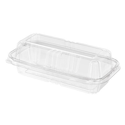 "Hinged Hoagie / Sub Rectangle Container Clear PET 39.9 Oz 7.93 x 3.25 x 2.75"" TS202"