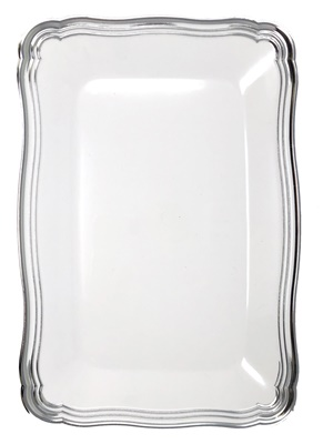 "(3955) Aristocrat White / Silver Oblong Plastic Serving Trays 13"" X 9"" Tray 24/2 CT"