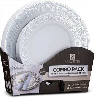 "Serviette Ser Silver Combo 7"" & 10"" Plates 20+20 4/CS (SRT-PC710S)"