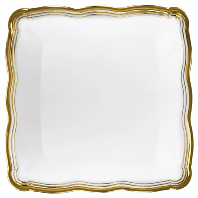 "(3956) Aristocrat White / Gold Square Plastic Serving Trays 12"" X 12"" Tray 24/2 CT"