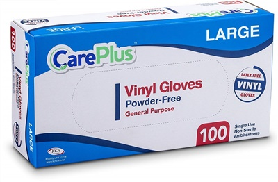 Care Plus Disposable Vinyl Gloves Large Powder Free Latex Free 10/100 CT (GPVPF-L)