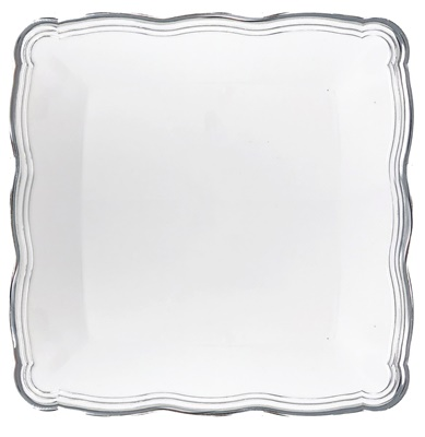 "(3957) Aristocrat White / Silver Square Plastic Serving Trays 12"" X 12"" Tray 24/2 CT"
