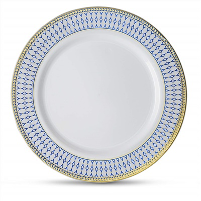 "Midnight Blue 9"" White W/ Blue/gold Border Lunch Plates 12/10 CT (MB-P9-BG)"
