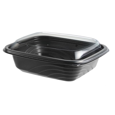 Microwaveable CDM616 Container w/ PET Dome Lid, 16 oz, Black/clear 201/Case