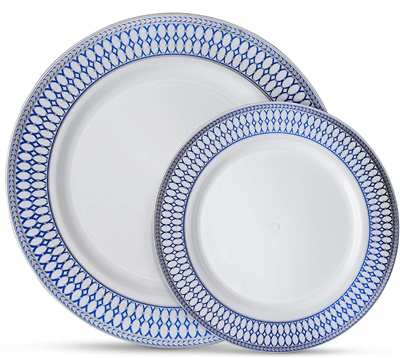 "Midnight Blue Silver 10.25"" White Dinner Plates W/ Blue/Silver Border 12/10ct (MB-P10-SB)"