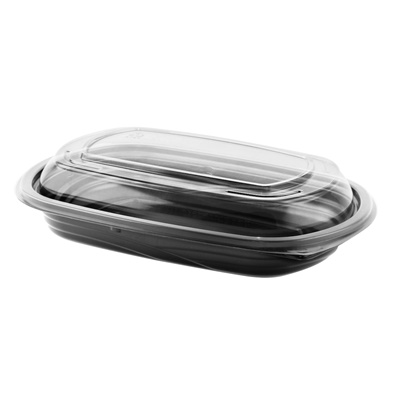 Microraves CDM416B Polypropylene Rectangle Food Container Black/Clear, 16 oz 125/Case