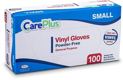 Care Plus Disposable Vinyl Gloves SMALL Powder Free Latex Free 10/100 CT (GPVPF-S)