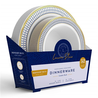 Midnight Blue Combo 5 oz & 12 oz Bowl White W/ Blue/ Gold Border 16+16 4/CS (MB-BC512-BG)