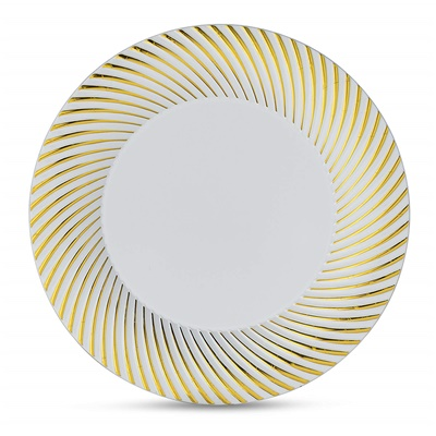 "Curve Series 10"" White/Gold Plate 12/10 CT (CRV-P10G)"