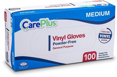 Care Plus Disposable Vinyl Gloves MEDIUM Powder Free Latex Free 10/100 CT (GPVPF-M)