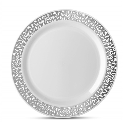 "Lace Series 9"" White/silver Luncheon Plates 12/10 CT (LCE-P9S)"