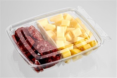 "Clear 2 Compartment Polyethylene Snack Pack Container - 6""x 5"" x 1.5"" 5 oz. / 8 oz. 260/CS"