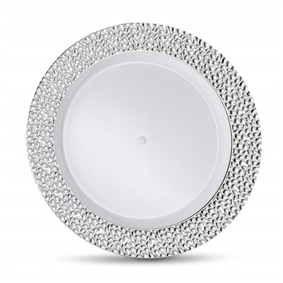 "Glitz Metalized Silver 7.5"" White Dinner Plates W/ Silver Border 12/10CT (GLZ-P7S)"