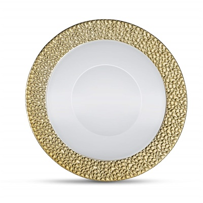 Glitz Metalized Gold 5 oz White Dessert Bowl With Gold Border 12/10 CT (GLZ-B5G)