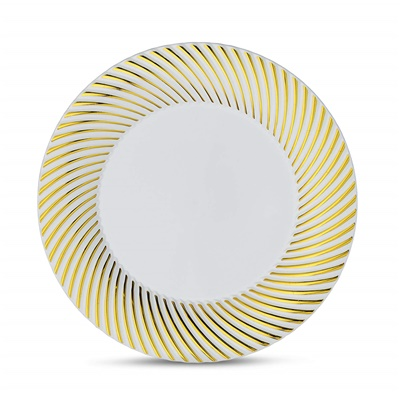 "Curve Series 7"" White/Gold Plates 12/10 CT (CRV-P7G)"