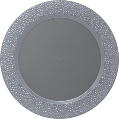 "Hammered 13"" Silver Charger Plate 25/ (3634)"