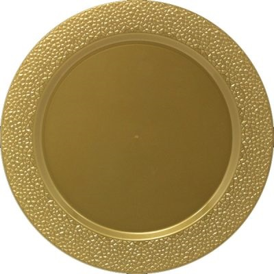 "Hammered 13"" Gold Charger Plate 25/ (3635)"