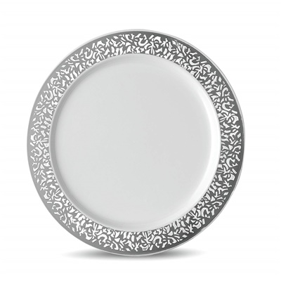 "Lace Series 6"" White/silver Dessert Plates 12/10 CT (LCE-P6S)"