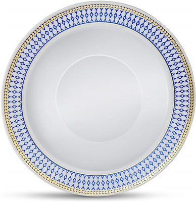 Midnight Blue 12 Oz Soup Bowl White W/ Blue/gold Border 12/10 Ct (MB-B12-BG)