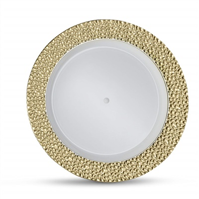 "Glitz Metalized Gold 7.5"" White Dinner Plates W/ Gold Border 12/10CT (GLZ-P7G)"