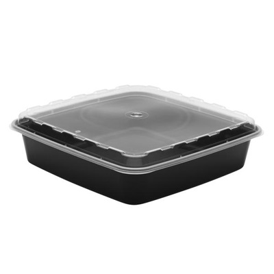 48 Oz Black Square Microwavable Container With Lid 150/CS