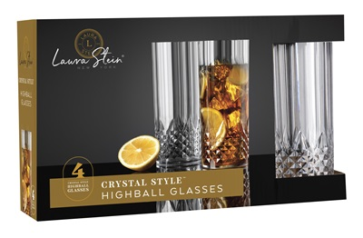 Crystal Style Highball Glasses 4 Pack 12/CS