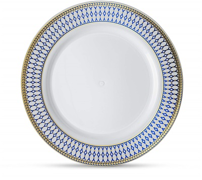 "Midnight Blue 7"" White W/ Blue/gold Border Salad Plates 12/10ct (MB-P7-BG)"