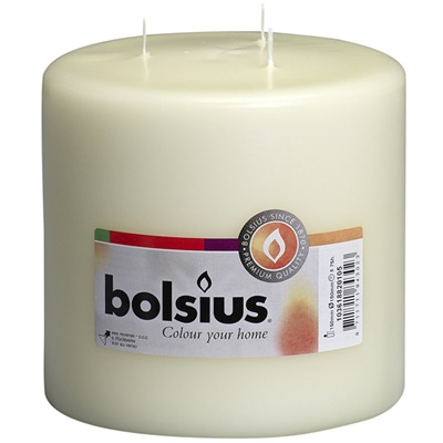 Bolsius 3 Wick Mommoth Ivory Pillar Candle 150/150mm (aprox 6X6″) Tray of 2