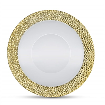 Glitz Metalized Gold 12 Oz White Soup Bowl With Gold Border 12/8CT (GLZ-B12G)