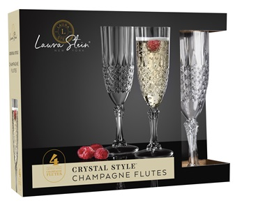 Crystal Style Champagne Flute 4 Pack 12/CS