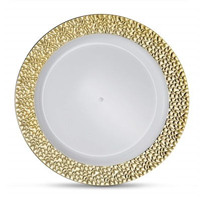"Glitz Metalized Gold 10"" White Dinner Plates With Gold Border 12/10CT (GLZ-P10G)"
