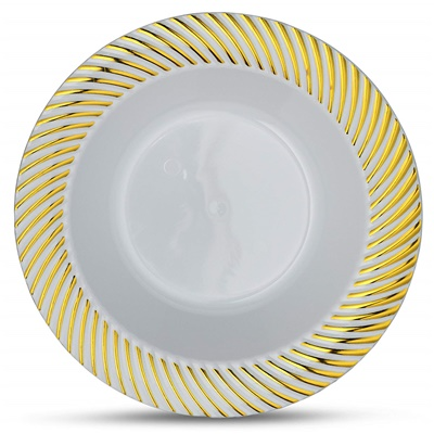 Curve Series 12 Oz White/ Gold Bowl 12/10 CT (CRV-B12G)