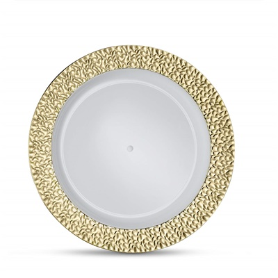 "Glitz Metalized Gold 9"" White Lunch Plates With Gold Border 12/8CT (GLZ-P9G)"