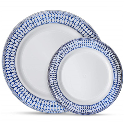 "Midnight Blue 7"" White W/ Blue/silver Border Salad Plates 12/10ct (MB-P7-SB)"